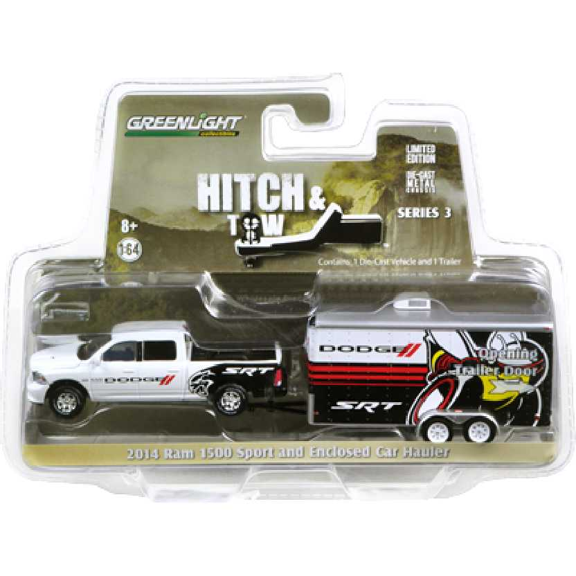 Greenlight Hitch and Tow series 3 2014 Dodge Ram 1500 + Enclosed Car escala 1/64 32030