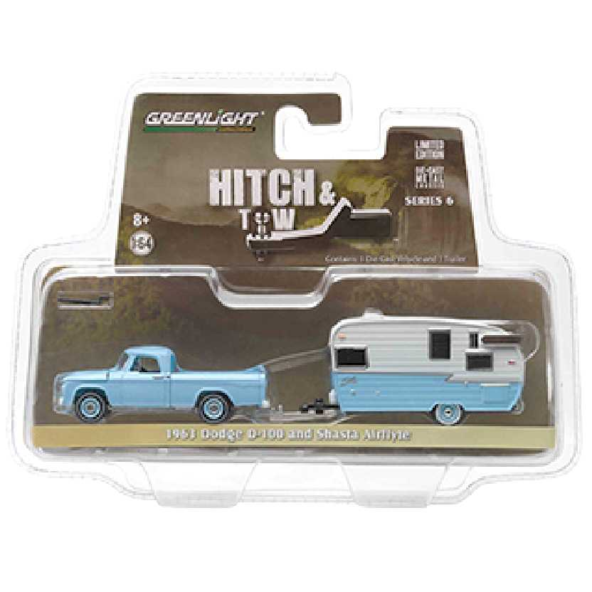Greenlight Hitch and Tow series 6 1963 Dodge D-100 + Shasta Airflyte escala 1/64 32060