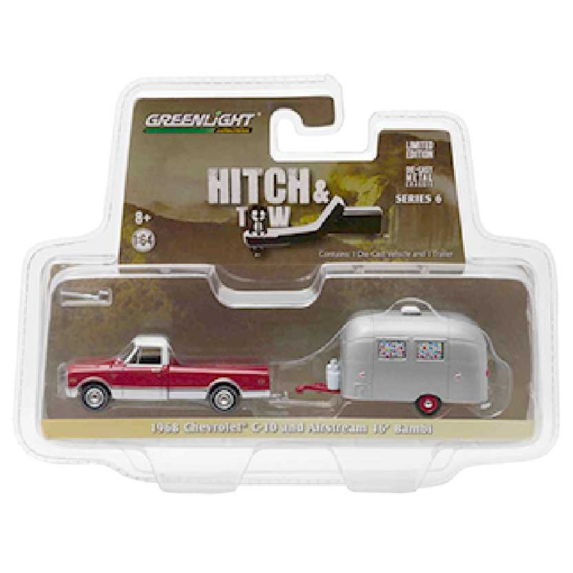 Greenlight Hitch and Tow series 6 1968 Chevrolet C-10 + Airstream Bambi escala 1/64 32060