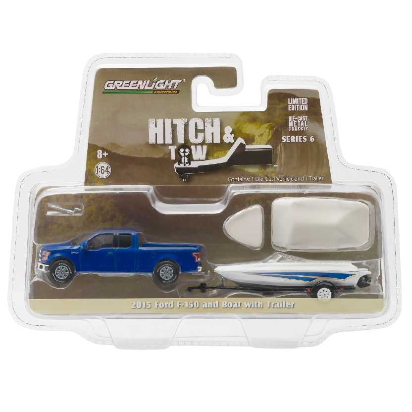 Greenlight Hitch and Tow series 6 2015 Ford F-150 + Boat w/ trailer escala 1/64 32060