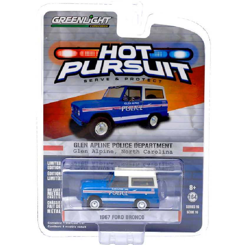 Greenlight Hot Pursuit 16 1967 Ford Bronco Glen Alpine North Carolina Police escala 1/64