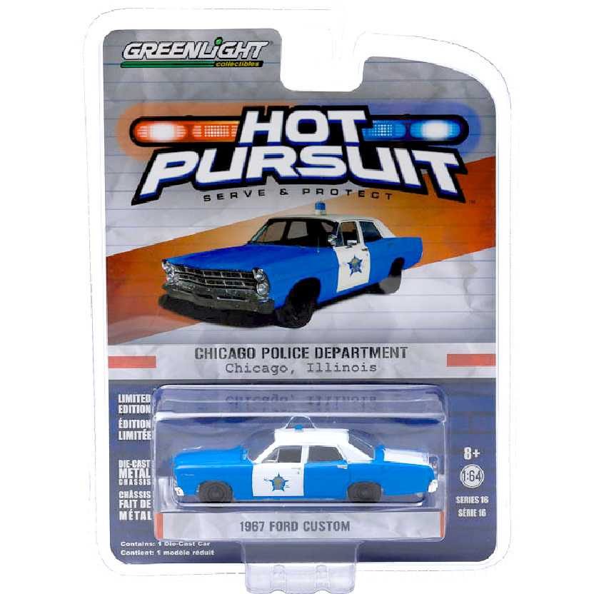 Greenlight Hot Pursuit Series 16 1967 Ford Galaxie City of Chicago escala 1/64