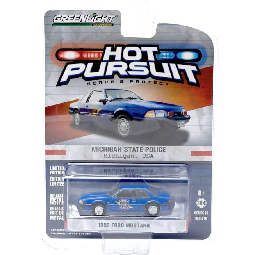 Greenlight Hot Pursuit Series 16 1992 Ford Mustang Michigan State Police escala 1/64