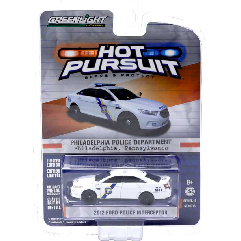 Greenlight Hot Pursuit Series 16 2012 Ford Police Interceptor Philadelphia escala 1/64