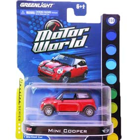 Greenlight Miniaturas Mini Cooper na escala 1/64  Motor World R3 96030
