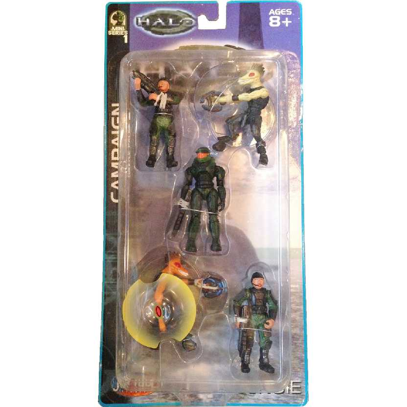 Halo Campaign 5-Pack (Mini Series 1) Brute, Marine, Master Chief Spartan, Red Elite