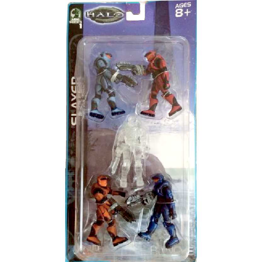Halo Slayer 5-Pack (Mini Series 1) 5 Spartans (blue+red+cobalt +orange+camouflage)