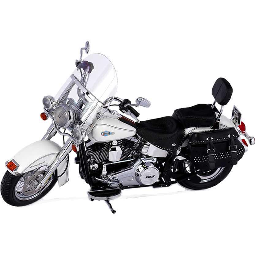 Harley Davidson FLSTC Heritage Softail Classic cor branca (2012) marca Highway 61 escala 1/12