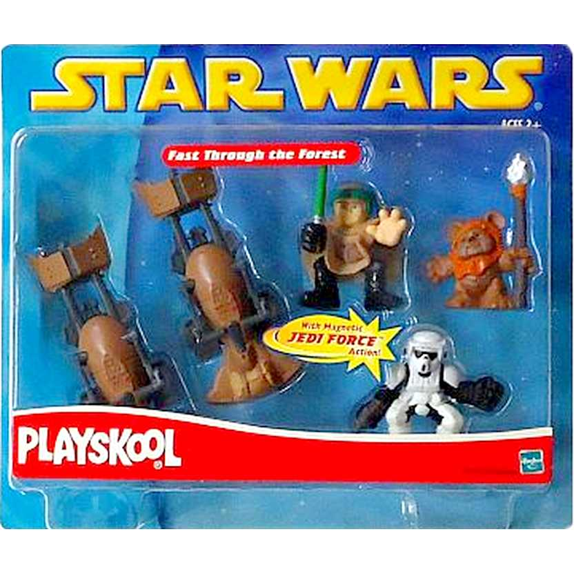 Hasbro 2002 Star Wars Playskool Action Figures Fast Through the Forest com Jedi Action