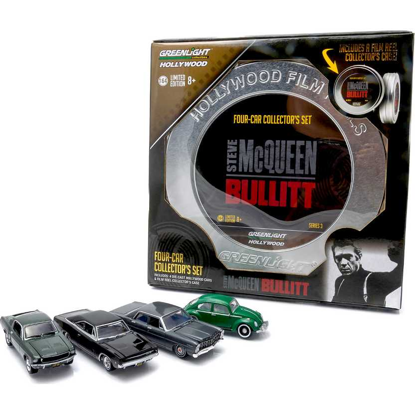 Hollywood Film Reels Bullit (Galaxie 67, Mustang 68, Charger 68 e  Fusca) Greenlight escala 1/64