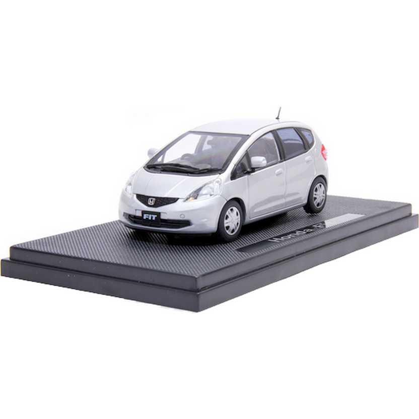Honda Fit prata (2009) com caixa de acrílico marca Ebbro escala 1/43