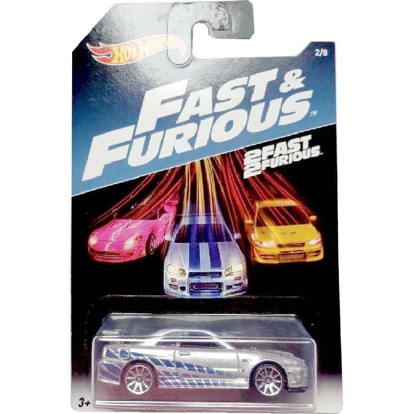 Hot Wheels 2 Fast 2 Furious Nissan Skyline GT-R (R34) +Velozes +Furiosos 2/8 DWF69 1/64