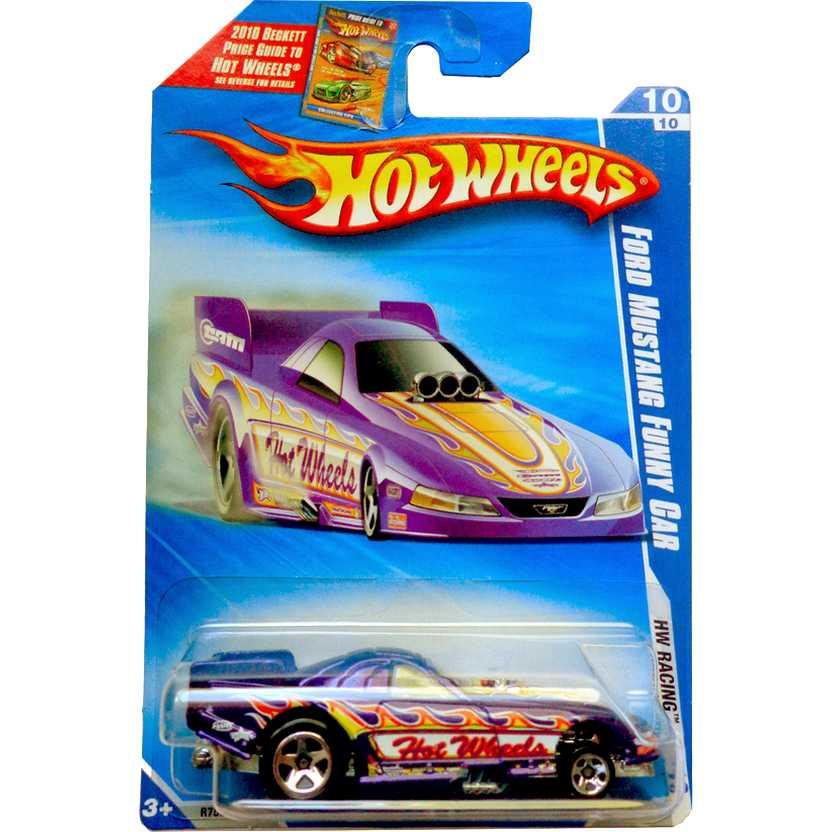 Hot Wheels 2010 Ford Mustang Funny Car roxo R7583 series 10/10 158/240 escala 1/64
