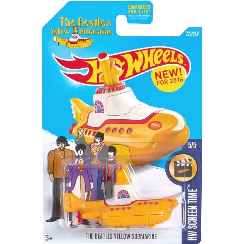 Hot Wheels 2016 The Beatles Yellow Submarine (Submarino Amarelo) DHP33 225/250 5/5 esc 1/64
