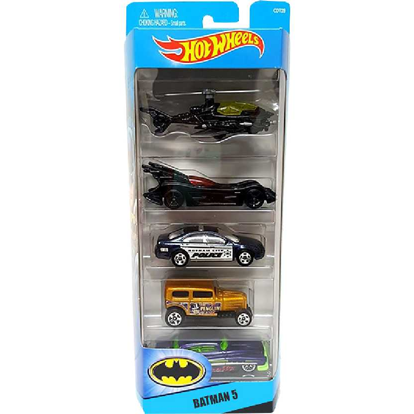 Hot Wheels 5 pack Batman CDT28 Batcopter, Batmobile, Fusion, Midnight Otto e So Fine esc 1/64