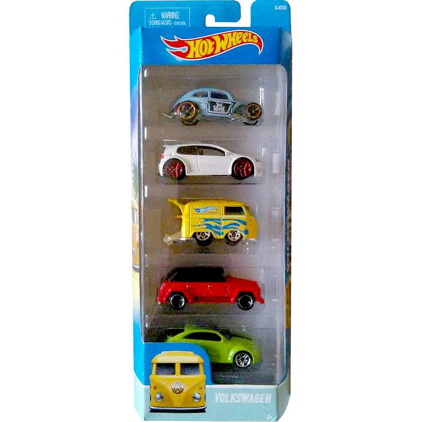 Hot Wheels 5 pack Volkswagen - VW Golf GTi, Kool Kombi, 2 Fuscas e Type 181 escala 1/64 DJD20