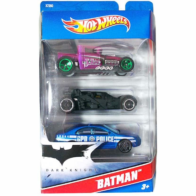 Hot Wheels Batman 3 pack Batmobile Dark Knight Cavaleiro das Trevas Batmóvel X7250