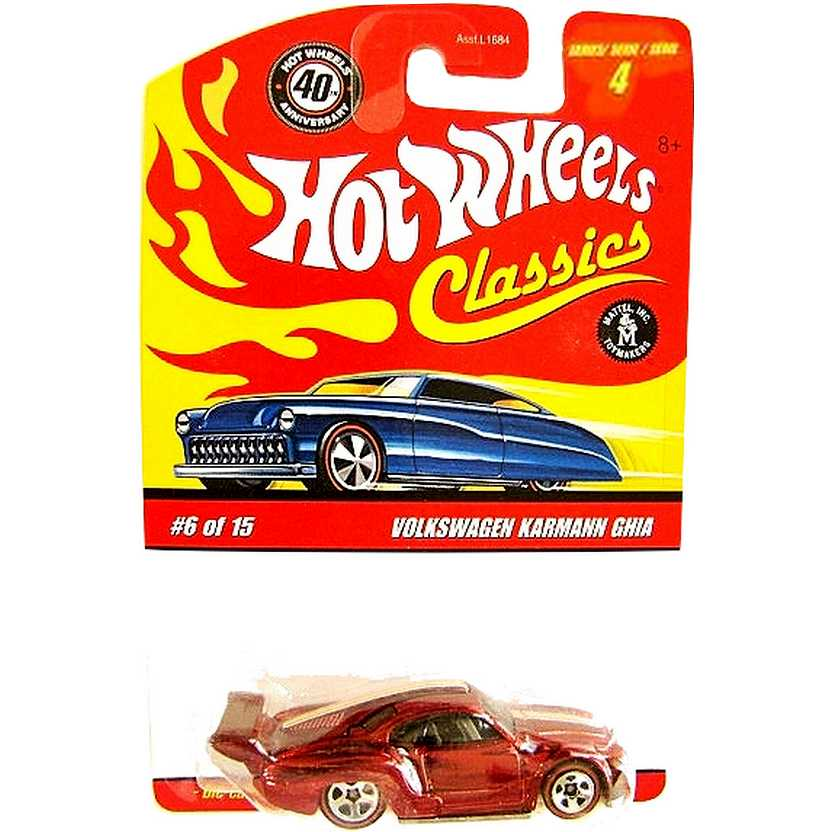 Hot Wheels Classics Karmann Ghia vermelho series 4 6/15 M1863 escala 1/64