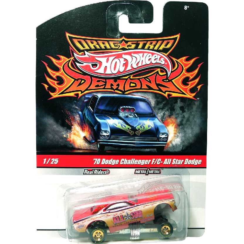 Hot Wheels Drag Strip Demons Code Red 70 Dodge Challenger F/C R3816 #1/25 escala 1/64