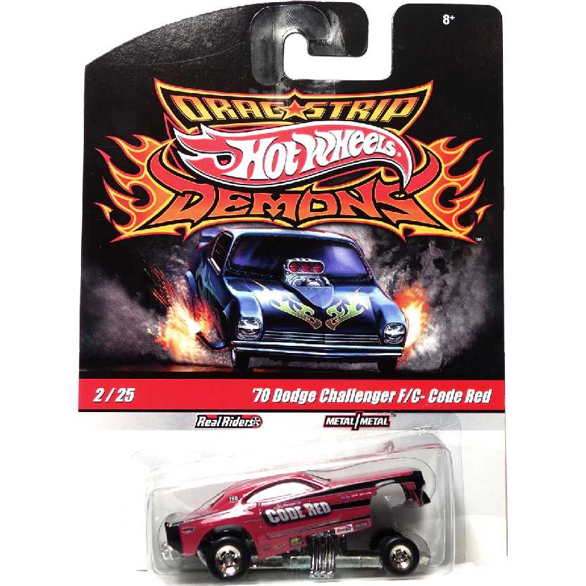 Hot Wheels Drag Strip Demons Code Red 70 Dodge Challenger F/C R3817 #2/25 escala 1/64