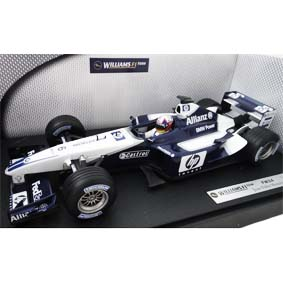 Hot Wheels F1 car Williams FW24 Juan Pablo Montoya (2002) capacete cromado 1/18