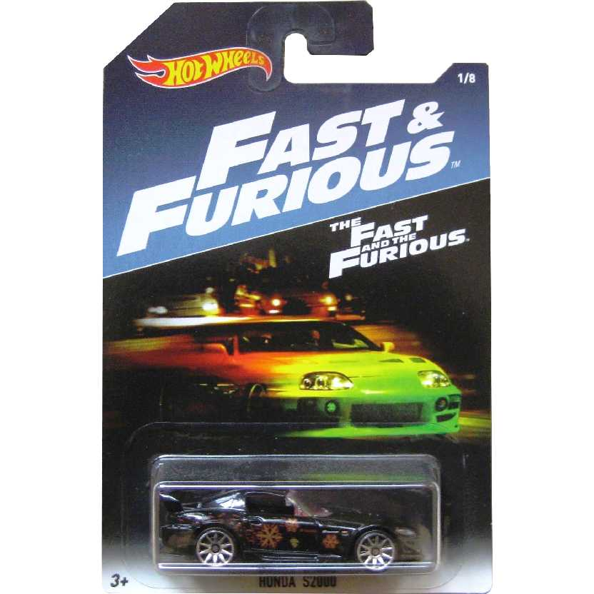Hot Wheels Honda S2000 preto Velozes e Furiosos The Fast & Furious 1/8 DWF70 escala 1/64