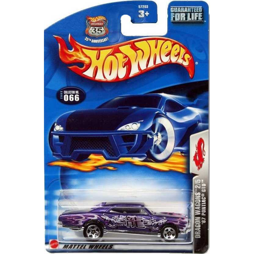 Hot Wheels linha 2003 67 Pontiac GTO 57203 #066 dragon wagons 2/5 escala 1/64