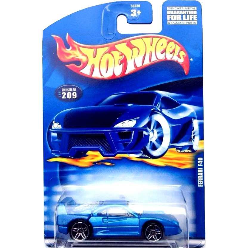 Hot Wheels poster 2001 Ferrari F40 azul 53738 #209 escala 1/64