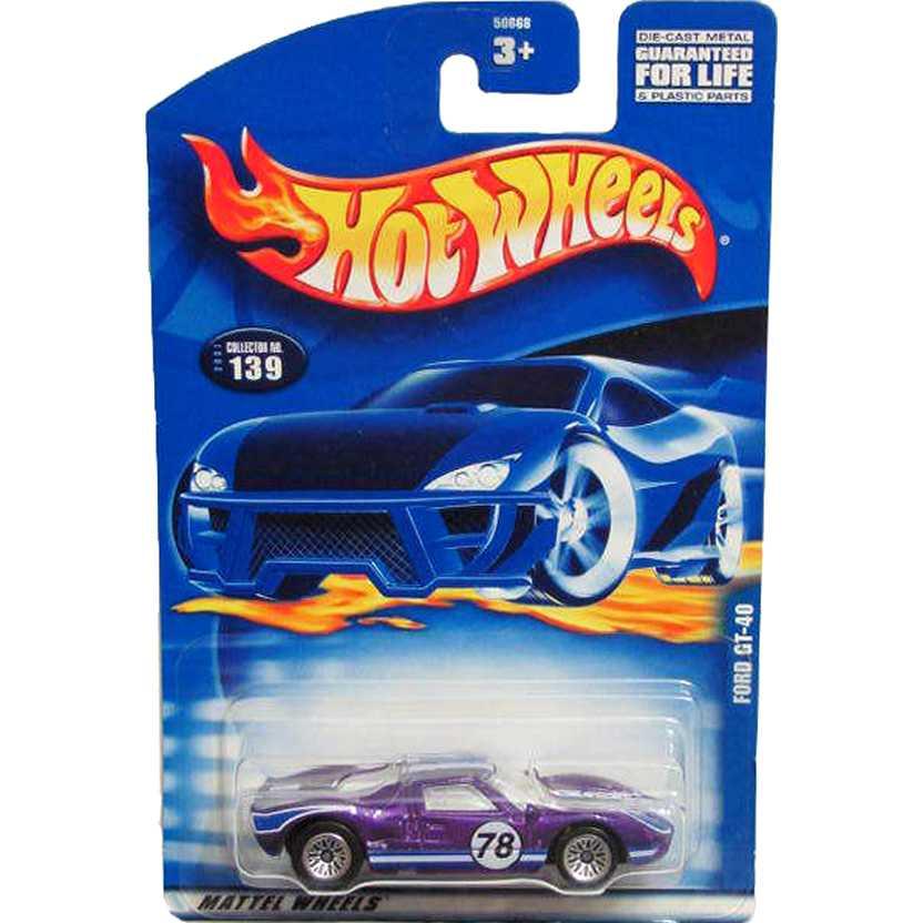 Hot Wheels poster 2001 Ford GT-40 roxo 50668 #139 escala 1/64
