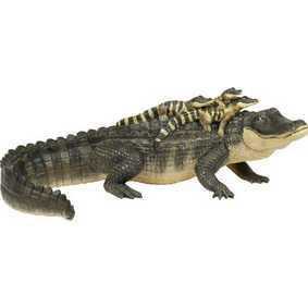 Jacaré com filhotes ( Miniaturas Safari Ltd ) 259629 Alligator with Babies