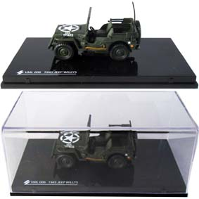 Jeep Willys do exército (1945) com caixa de acrílico escala 1/43
