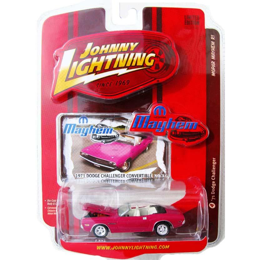 Johnny Lightning escala 1/64 : 71 Dodge Challenger conversível rosa R1 (50258) 53287B