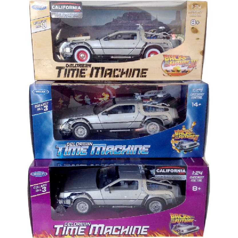 Kit Delorean De Volta Para O Futuro 1 2 3 Back To The Future Time Machine Welly escala 1/24