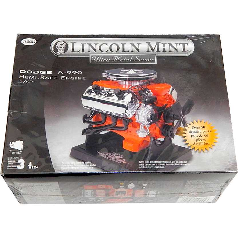 Kit do motor Dodge A-990 Hemi escala 1/6 Lincoln Mint Testors (não requer pintura)