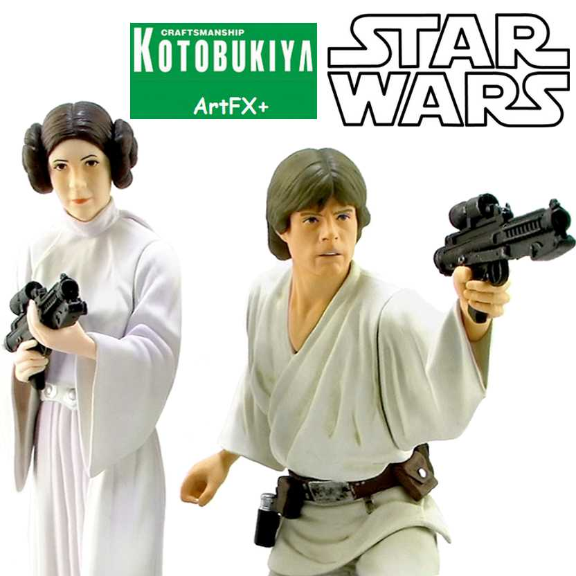 Kotobukiya Star Wars ArtFX+ Luke Skywalker + Princess Leia escala 1/10
