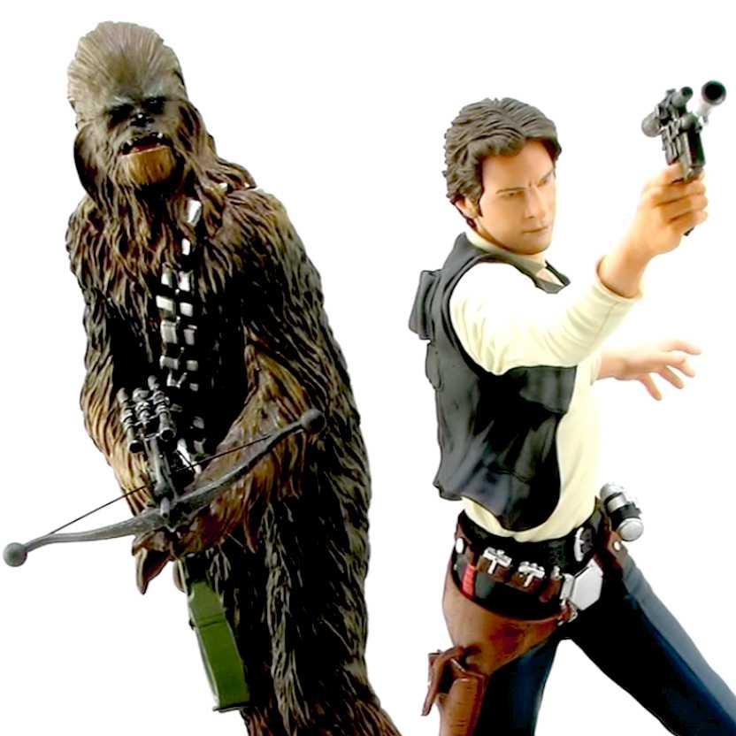 Kotobukiya Star Wars ArtFX Han Solo e Chewbacca escala 1/10 - Bonecos Guerra nas Estrelas