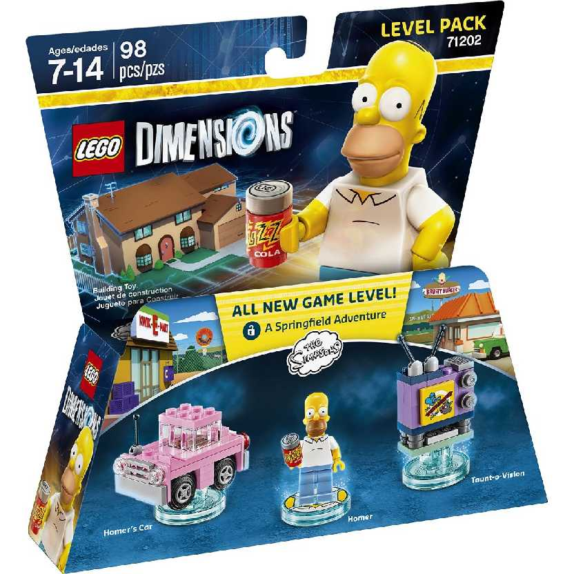 Lego Dimensions The Simpsons Homer + Carro + Taunt O Vision (98 peças) 71202