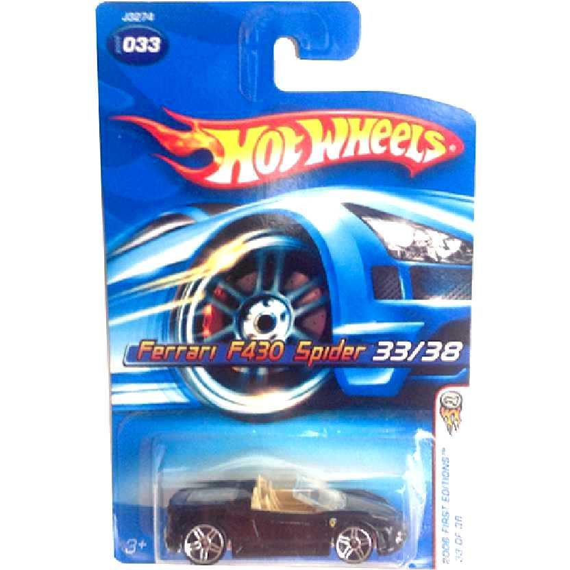 Linha 2006 Hot Wheels Ferrari F430 Spider preta J3274 series 033/38 escala 1/64