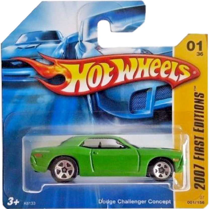 Linha 2007 Hot Wheels Dodge Challenger Concept verde series 01/36 001/156 K6133 escala 1/64