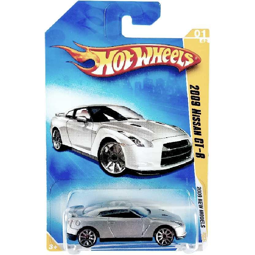 Linha 2009 Hot Wheels 2009 Nissan GT-R prata N4004 01/42 001/190 escala 1/64 Super Raro
