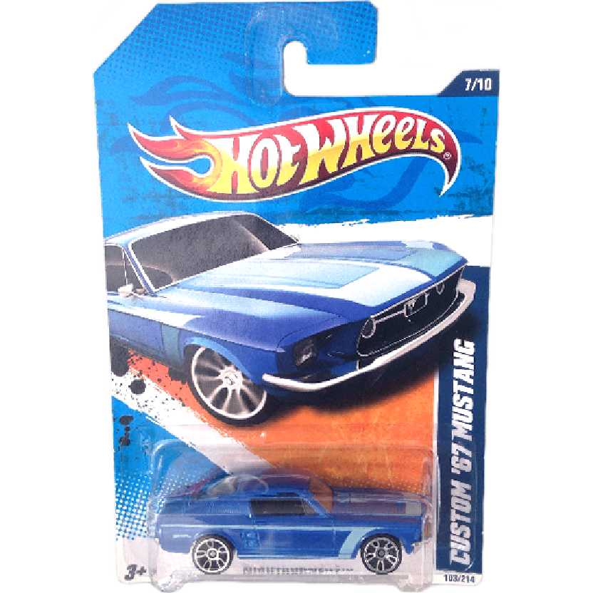 Linha 2010 Hot Wheels Custom 67 Mustang series 7/10 103/214 R7520 escala 1/64