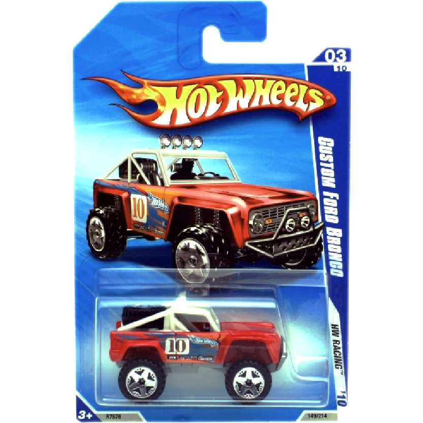 Linha 2010 Hot Wheels Custom Ford Bronco series 03/10 149/214 R7576 escala 1/64