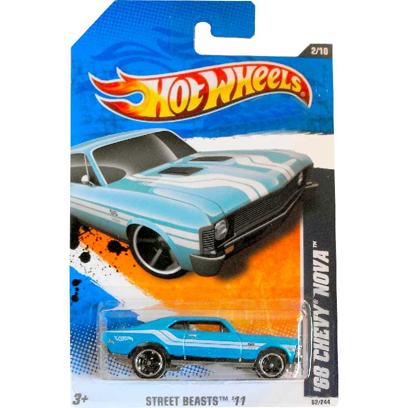 Linha 2011 Hot Wheels 68 Chevy Nova V0015 series 2/10 82/244 escala 1/64
