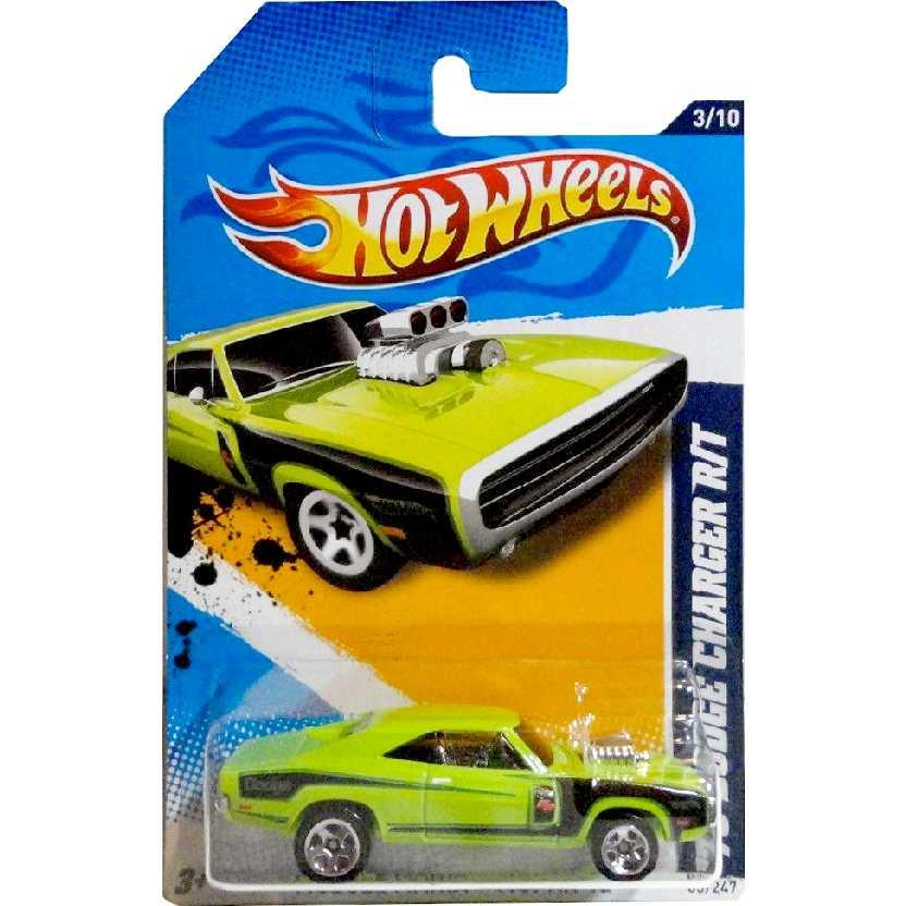 Linha 2012 Hot Wheels 70 Dodge Charger R/T verde series 3/10 83/247 V5386 escala 1/64