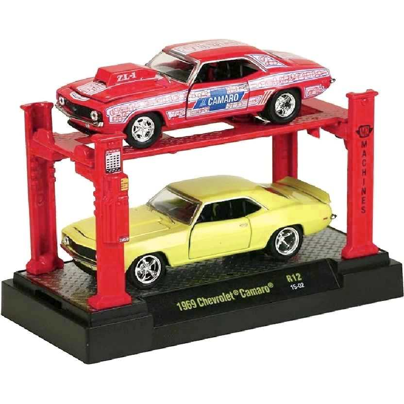 M2 Machines Auto Lift 2 pack 1969 Chevrolet Camaro release 12 escala 1/64 + Elevador