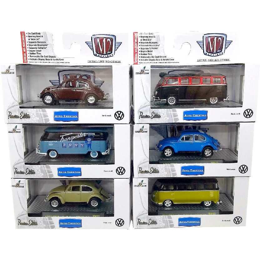 M2 Machines Volkswagen: 3 VW Kombi + 3 VW Beetle (Fusca) escala 1/64 com caixa de acrílico