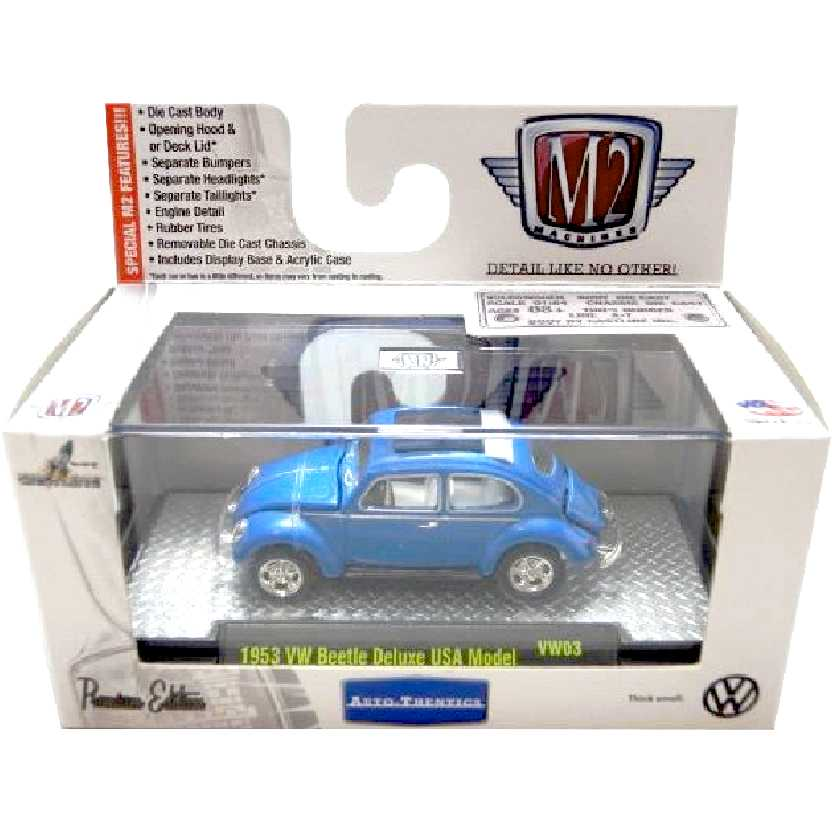 M2 Machines VW Fusca azul (1953) Volkswagen Beetle escala 1/64 32500 VW03 R3