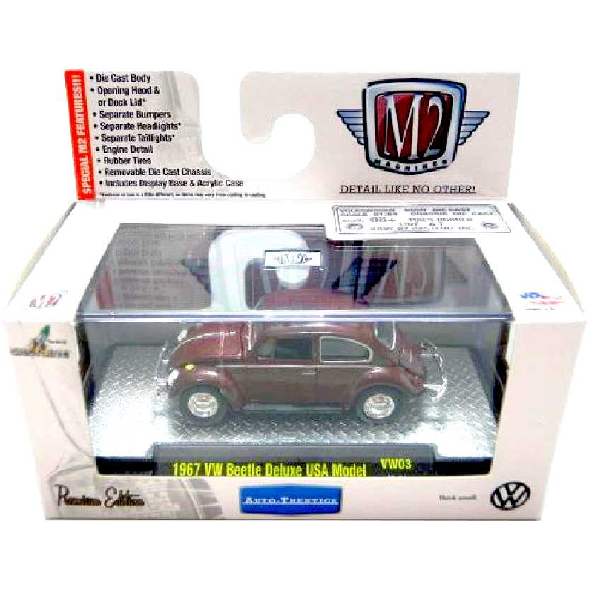 M2 Machines VW Fusca vinho (1967) Volkswagen Beetle escala 1/64 32500 VW03 R3