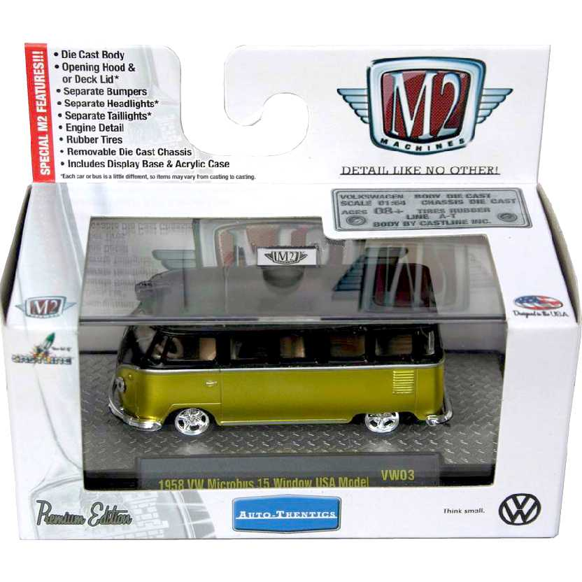 M2 Machines VW Kombi AM (1958) Volkswagen Microbus 15 Window escala 1/64 32500 VW03 R3