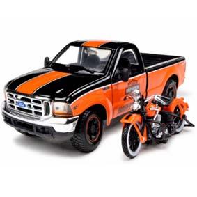 Maisto Harley Davidson El Knucklehead (1936) e Pickup Ford F-350 Super Duty (1999)
